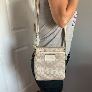 White Signature Coach Crossbody Purse